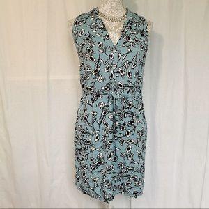 Loft // Outlet Pale Blue Floral Print Shirt Dress